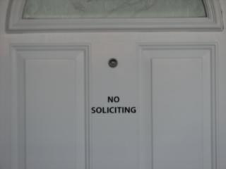 No Soliciting on door